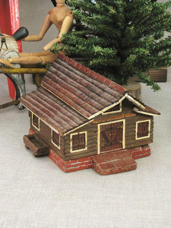Hand Carved Folk Art Music Box - Ranch Cabin
