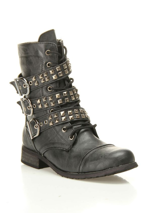 Combat Boot With Studded Buckles