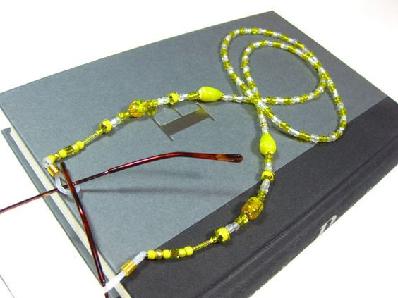 Yellow Beaded Eyewear Necklace Hand Crafted by TheTwistedRedhead