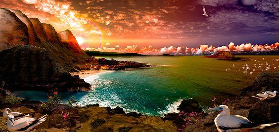 HALONA BAY LOOK DOWN AT SUNRISE / Satoshi Matsuyama  #Satoshi Matsuyama #Hawaii #art #Landscape