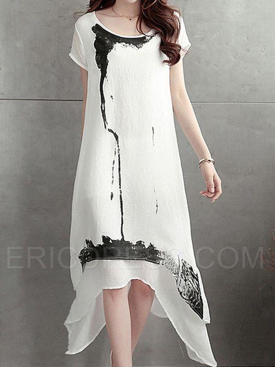 Ericdress Print Short Sleeve Casual Dress Casual Dresses