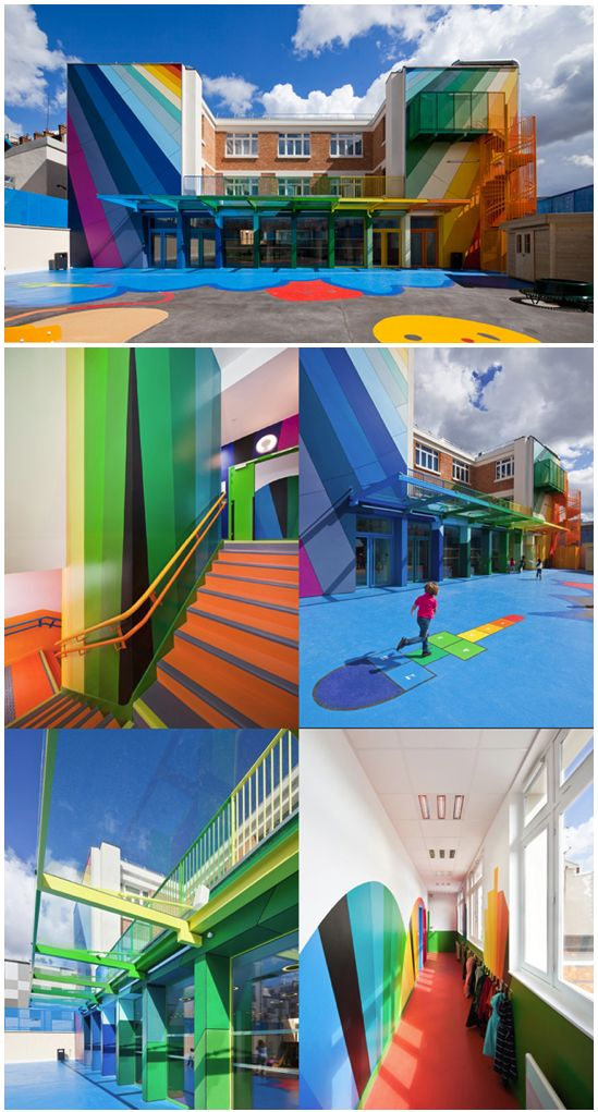 Ecole Maternelle Pajol kindergarten school in Paris by architects Palatre & Leclère. #rainbow #colorful #building #architecture: