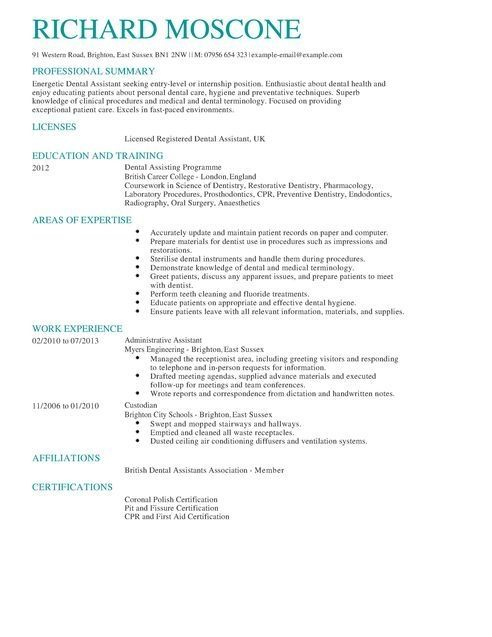 Cv Template Dentist Sample Resume Cv Examples Dental