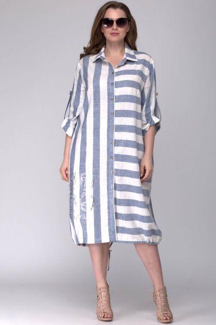 Платье в полоску, свободный силуэт, больших размеров.
