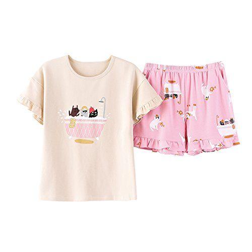 LLP Big Girls Cute Rabbit Printed Sleepwear Pajama Sets Comfy Summer