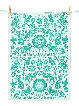 Folksy tea towel