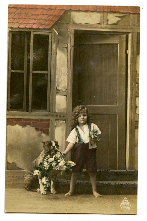 1900s Little Girl & Pitbull Postcard Hand Tinted by AuntieGVintage