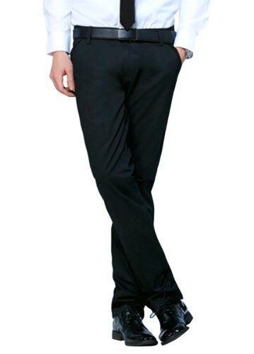PXS Men's Casual Stylish Easy-care Stretch Skinny Trousers Pants Black-31