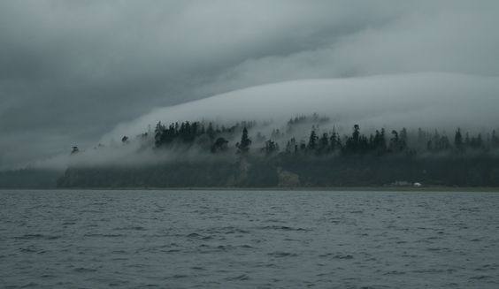 Fog bank over Indianola, Puget Sound, WA