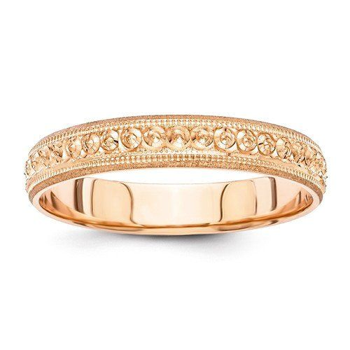 Material: Primary:Gold Material: Primary - Color:Rose Material: Primary - Purity:14K Band Width:3 mm Finish:Polished Etched Design Made in Puerto Rico...