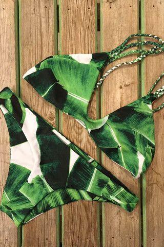 Stone Fox Swim Indie Top and Malibu Bottom Banana Leaf   Mango Molli Swimwear