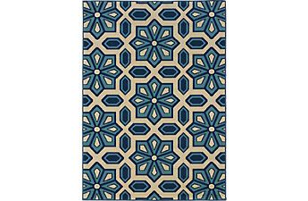 Marisela Blue 6'7 x 9'6 Indoor/Outdoor Rug
