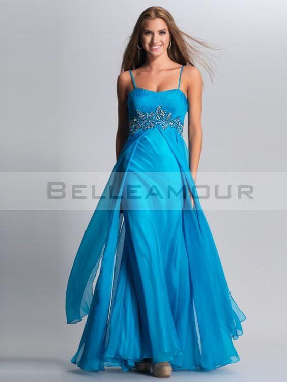 Robe de soirée bleue Elégant Longue avec bretelles  Mousseline A-Ligne