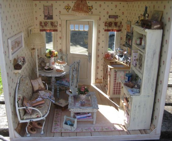 Downstairs, shabby chic dollhouse