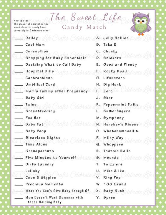 Priceless image throughout 75 printable baby shower games with answers
