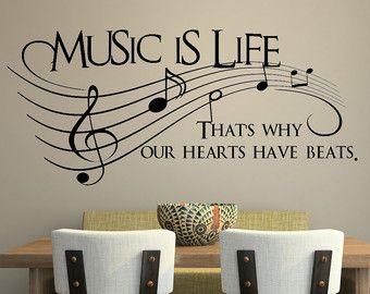 Musik ist Leben... Das ist warum haben unser Herz schlägt Vinyl Wall Decal Aufkleber Art