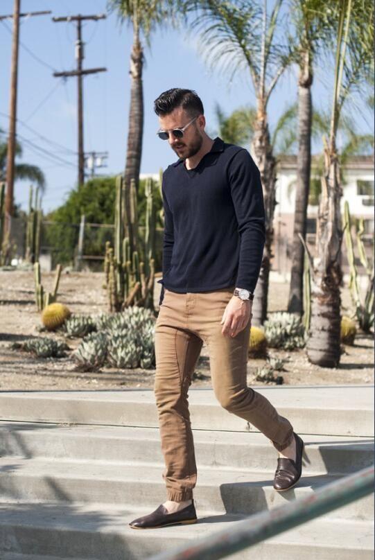 Men's Drop Crotch Dark Khaki Jogger Pants | Khaki jogger pants, Menswear,  Style