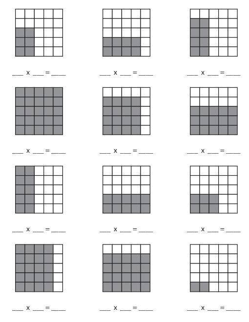 Multiplication array worksheets grade 4