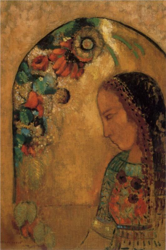 """Lady of the Flowers"" c. 1895 - Odilon Redon"