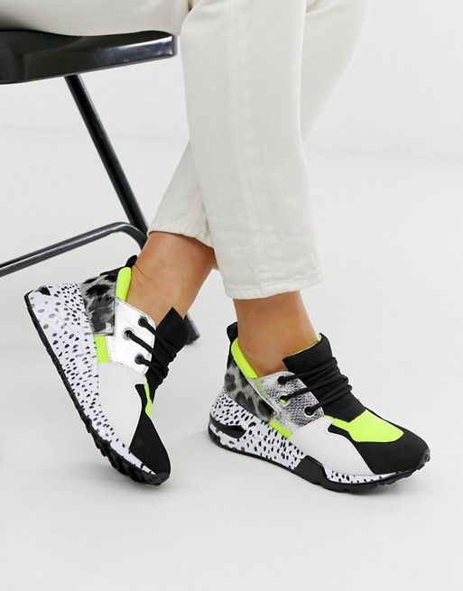 Steve Madden Cliff black sneakers with neon trim | ASOS
