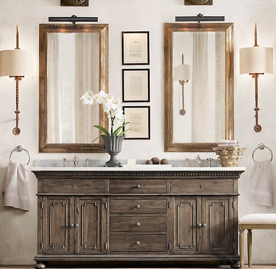 St james double vanity sink antiqued coffee oh how i love restoration hardware a lady and for Home hardware bathroom vanities