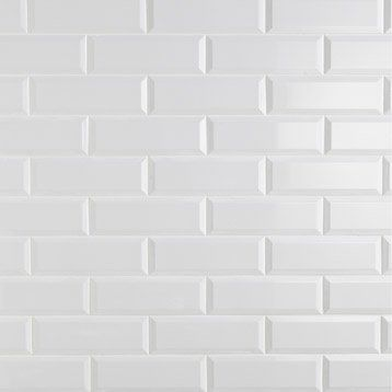 Carrelage mural plaquetas en fa ence blanc 10 x 30 cm - Carrelage ceramique leroy merlin ...