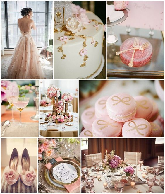 Pink and gold wedding, because are there any other colors in my universe? No.