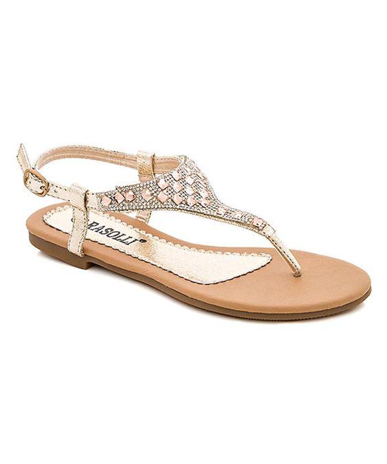 $22.99 Lady Godiva Gold Rhinestone Marina Sandal