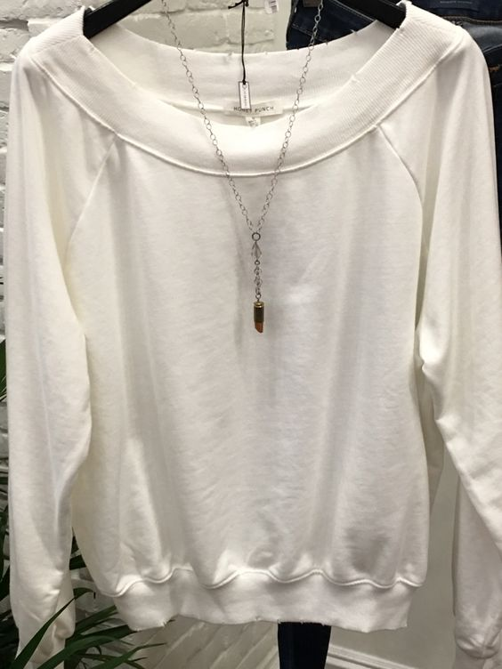 The distressing and softness of this white Honey Punch sweatshirt make it a must! Grab yours today for $53. #shop #style #ootd #fashion #TownSquare #ApricotLaneTS