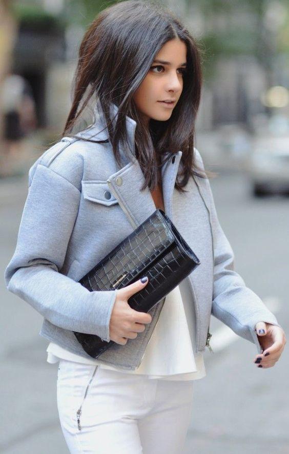 Grey Heathered Biker Jacket: