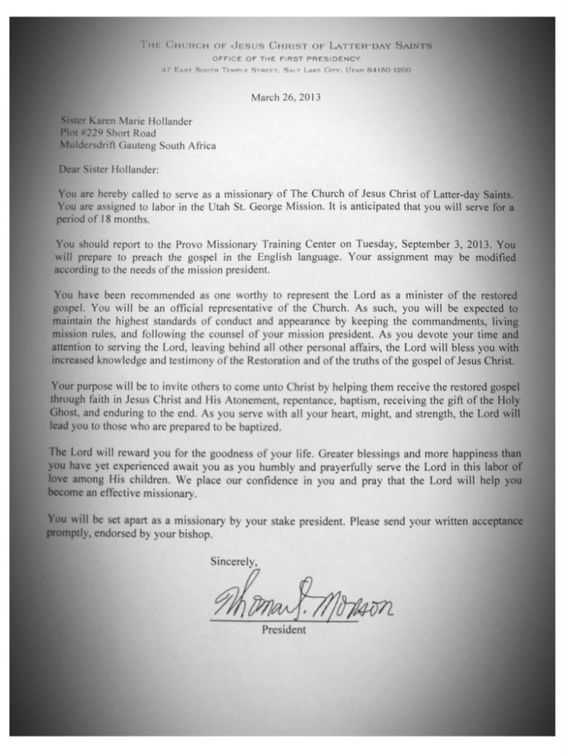 Mission Call Letter Youth Conference Pinterest The O