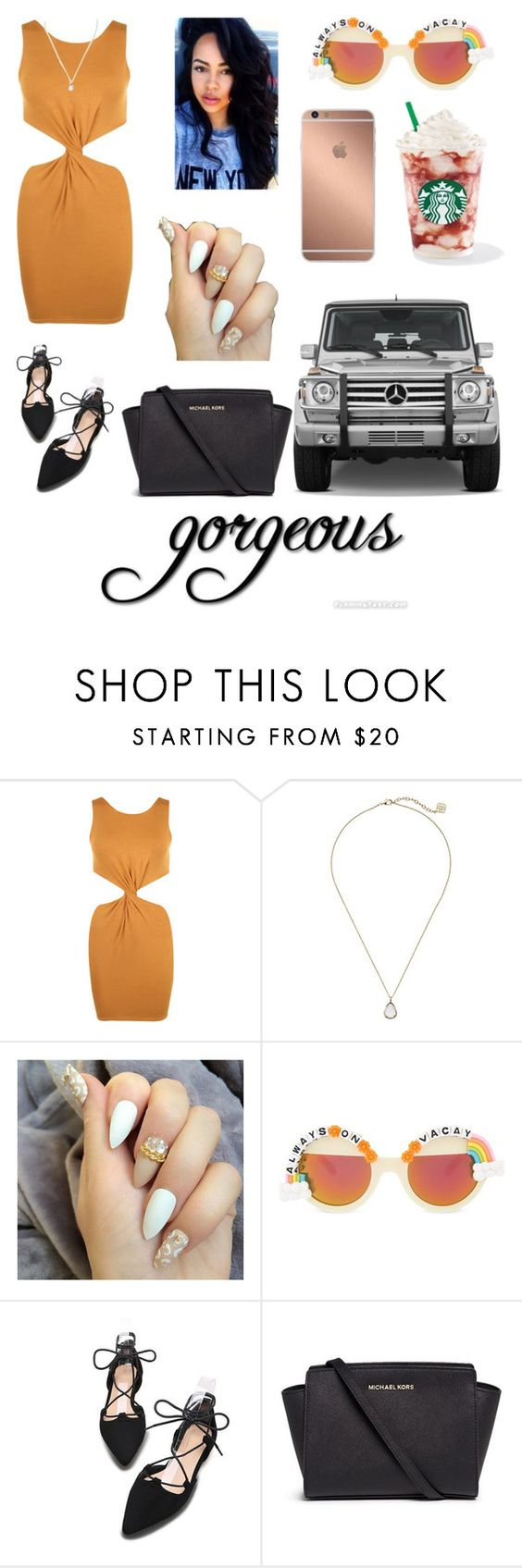 """""""gorgeous ."""" by qveenkyndall16 ❤ liked on Polyvore featuring WearAll, Mura, Kendra Scott, Rad+Refined, Mercedes-Benz and Michael Kors"""