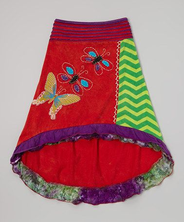 This Red & Purple Butterfly Hi-Low Skirt - Girls by Rising International is perfect! #zulilyfinds