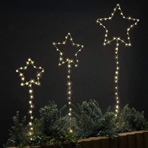 Lamplust Outdoor Garden Stake Lights Black Metal Star Shape With Twinkling Fairy Lights Plugin Waterproof Ul Listed Set Of 3 Review Hanging Christmas Lights Christmas Lights Outside Christmas Light Installation