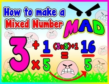 How to make a Mixed Number MAD = Poster/Anchor Chart with Cards for Students  http://www.teacherspayteachers.com/Product/How-to-make-a-Mixed-Number-MAD-PosterAnchor-Chart-with-Cards-for-Students-1243271