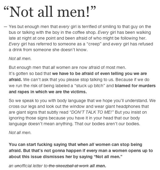 """#YesAllWomen Because I am dealing with another man that cannot take no for an answer and is trying to guilt me into """"just talking to him"""". No means NO!"""