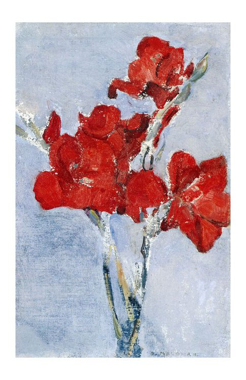 Red Gladiolas by Piet Mondrian as seen on the internet. I cannot find a proof to verify that this is his painting though. Do not believe it yet, just enjoy the flowers!