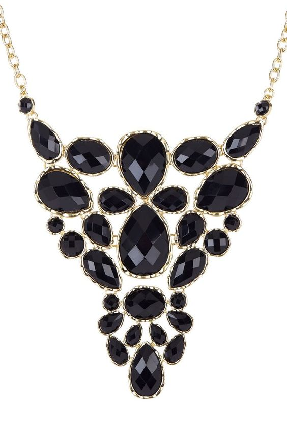 Black Pearly Cluster Necklace $12 jewelboxonline Gold - victim statement