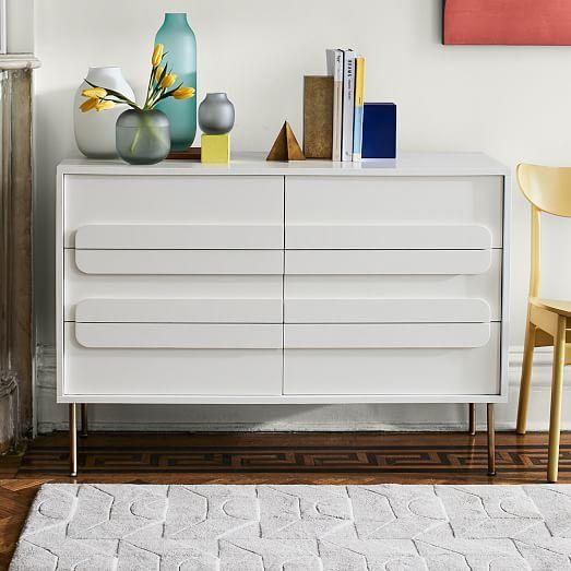 Gemini 6 Drawer Dresser White Lacquer Furniture Home Decor 6 Drawer Dresser
