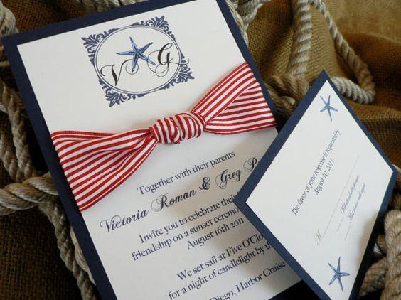 Nautical beach wedding invitation by hellodahlia on Etsy 500 – Etsy Beach Wedding Invitations