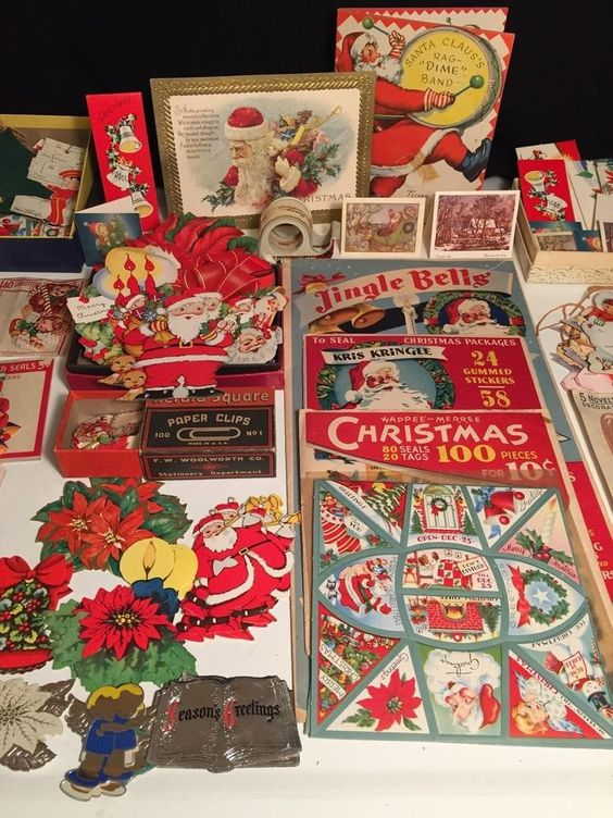 Vintage Lot 500+ CHRISTMAS Stickers (FRED FEAR & Co.), Gift Cards, Seals (12/17/2015)