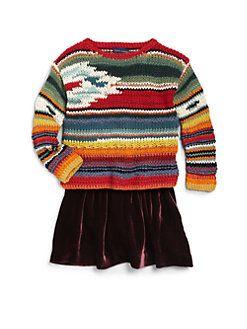 Ralph Lauren - Toddler's & Little Girl's Southwestern Striped Sweater #girls #kids #clothes #fashion #knit #southwest #Navajo #serape #stripe #sweater