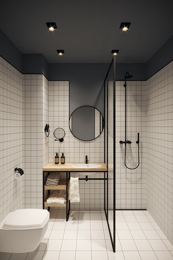 Love this modern wet room bathroom design! Easy access for cleaning the whole area too! #wetroom #wetroomideas #modernwetroom #modernwetroomideas #squaretilebathroom #wetroombathroom