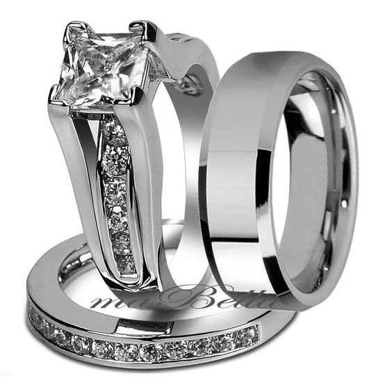 Nice 3 Pcs Her Stainless Steel U0026 His Tungsten Wedding Engagement Ring Band  Set