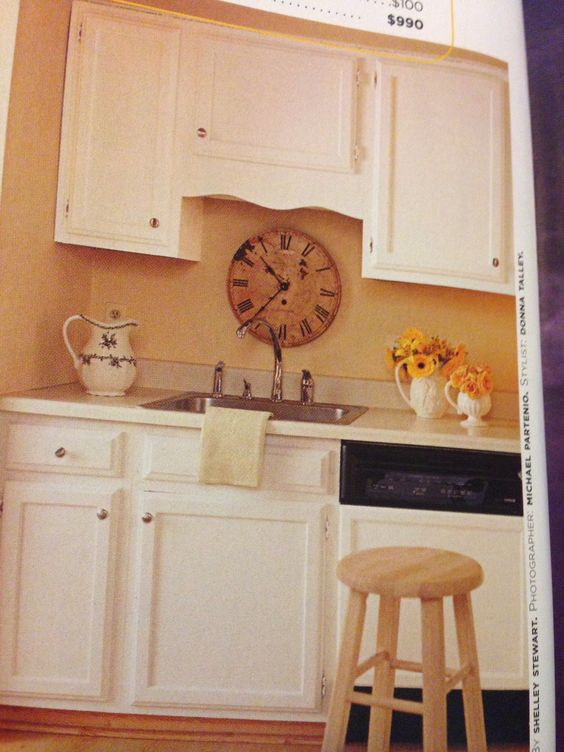 clock behind sink?