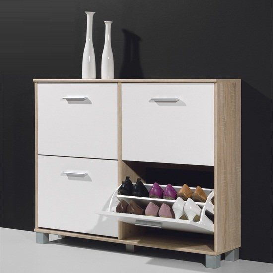 Modern Shoe Storage Cabinet In Canadian Oak And White In 2020