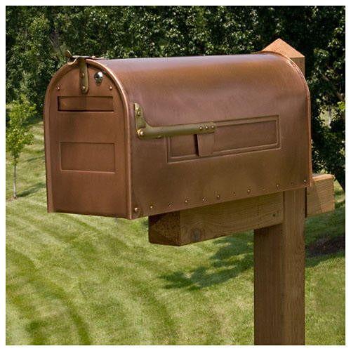 Stevenson Locking Post Mount Copper Mailbox Outdoor Copper Mailbox Mounted Mailbox Large Mailbox