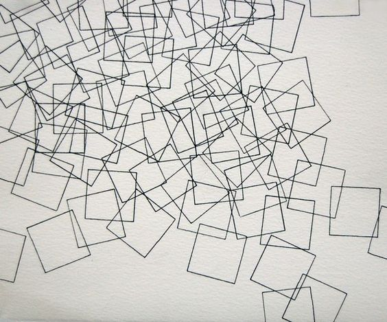 Geometric Line Drawing Artists : Cascade small quot abstract drawing