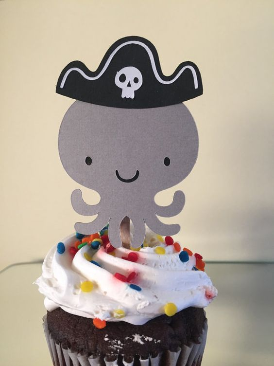 Pirate Octopus Cupcake Topper by daileycrafting on Etsy