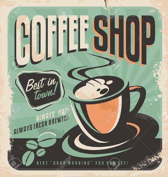 Retro Cartel Para La Cafetería Ilustraciones Vectoriales, Clip Art Vectorizado Libre De Derechos. Image 26074764.